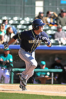 University of Pittsburgh Panthers outfielder Stephen Vranka #21 at bat during a game against the Coastal Carolina University Chanticleers at Ticketreturn.com Field at Pelicans Ballpark on February 16, 2014 in Myrtle Beach, South Carolina. Pittsburgh defeated Coastal Carolina by the score of 10-6. (Robert Gurganus/Four Seam Images)
