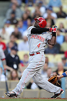 Cincinnati Reds shortstop Brandon Phillips #4 bats against the Los Angeles Dodgers at Dodger Stadium on June 14, 2011 in Los Angeles,California. (Larry Goren/Four Seam Images)