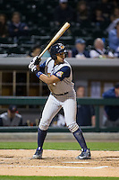 Dixon Machado (28) of the Toledo Mud Hens at bat against the Charlotte Knights at BB&T BallPark on April 27, 2015 in Charlotte, North Carolina.  The Knights defeated the Mud Hens 7-6 in 10 innings.   (Brian Westerholt/Four Seam Images)