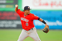 Greeneville Astros third baseman Darwin Rivera (6) makes a throw to first base against the Burlington Royals at Burlington Athletic Park on July 1, 2013 in Burlington, North Carolina.  The Astros defeated the Royals 7-0 in Game One of a doubleheader.  (Brian Westerholt/Four Seam Images)