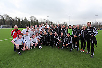 Thursday 11 April 2013<br /> Pictured: Sports reporters team (in white) and coaching staff team (in black after the game.<br /> Re: Friendly game, Swansea City FC coaching staff v sports reporters at the Swansea City FC training ground. Final score 10-4.