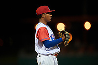 Stockton Ports third baseman Brallan Perez (2) during a California League game against the Rancho Cucamonga Quakes at Banner Island Ballpark on May 16, 2018 in Stockton, California. Rancho Cucamonga defeated Stockton 6-3. (Zachary Lucy/Four Seam Images)