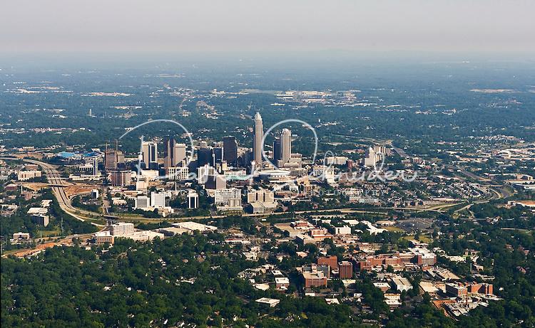 Aerial photo of Charlotte skyline taken May 2008.