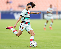 HOUSTON, TX - JUNE 13: Catarina Amado #2 of Portugal crosses the ball during a game between Nigeria and Portugal at BBVA Stadium on June 13, 2021 in Houston, Texas.