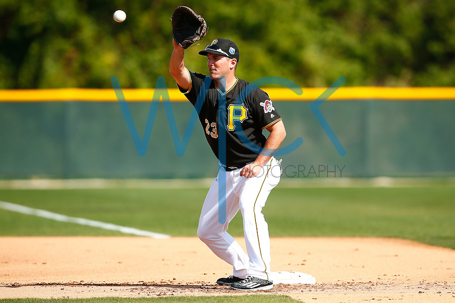 Jake Goebbert #23 of the Pittsburgh Pirates works out during spring training at Pirate City in Bradenton, Florida on February 23, 2016. (Photo by Jared Wickerham / DKPS)