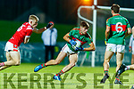 Evan Cronin, East Kerry in action against David Mangan, Mid Kerry during the Kerry County Senior Football Championship Final match between East Kerry and Mid Kerry at Austin Stack Park in Tralee on Saturday night.