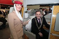 NO FEE PICTURES.25/1/13 Lord Mayor of Dublin Naoise Ó Muirí with Aurelie Timmasino at the Holiday World Show at the RDS, Dublin. Picture:Arthur Carron/Collins