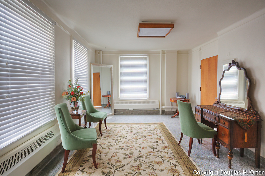 Dressing room of elegant mansion used as Brides Room for events.  Dating to 1927, the Masonic Retirement Center, locally known as the Masonic Home, in Des Moines, Washington is now an elegant event center available for rental.  In the historic Zenith neighborhood of the city of Des Moines. Please conact douglasorton@comcast.net regarding licensing of this image.