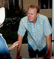 District 2 Councilman Kevin Faulconer speaks with a volunteer at the Pacific Beach Town Council clean-up station on the morning of July 5th, 2008.  Volunteers and organisers of several beach clean-ups in the Pacific and Mission Beach area were stunned by the huge reduction in trash on the beaches compared to what they are used to finding each year on July 5th.  The cleanliness of the beaches left many searching the side streets and alleys for trash to collect.  Most people, including Faulconer,  are attributing the drastic change to the six-month old alcohol ban on the area beaches.