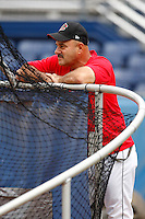 July 3, 2009:  Manager Mark DeJohn of the Batavia Muckdogs before a game at Dwyer Stadium in Batavia, NY.  The Muckdogs are the NY-Penn League Short-Season Class-A affiliate of the St. Louis Cardinals.  Photo By Mike Janes/Four Seam Images