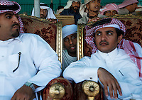Wealthy Bedouins watch the judging from a tent filled with comforts of upholstered chairs. Traditions of hierarchy persist in the grandstand at the Camel Beauty Contest.