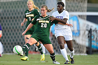 Baylor forward Justine Hovden (20) and TCU forward Kela Gray (24) fight for the ball possession during first half of an NCAA soccer game, Friday, October 03, 2014 in Waco, Tex. TCU draw 1-1 against Baylor in double overtime. (Mo Khursheed/TFV Media via AP Images)