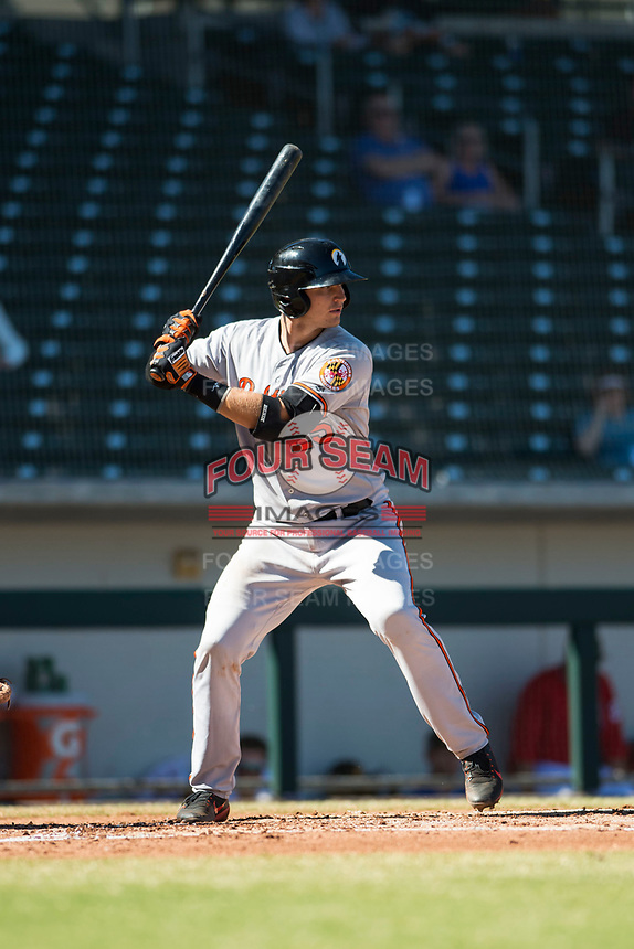 Glendale Desert Dogs catcher Martin Cervenka (25), of the Baltimore Orioles organization, at bat during an Arizona Fall League game against the Mesa Solar Sox at Sloan Park on October 27, 2018 in Mesa, Arizona. Glendale defeated Mesa 7-6. (Zachary Lucy/Four Seam Images)