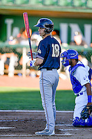 Jacy Cave (18) of the Missoula Osprey at bat against the Ogden Raptors in Pioneer League action at Lindquist Field on July 13, 2016 in Ogden, Utah. Ogden defeated Missoula 8-2. (Stephen Smith/Four Seam Images)