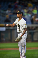 Felix Pena (20) of the Salt Lake Bees in action against the Albuquerque Isotopes at Smith's Ballpark on April 5, 2018 in Salt Lake City, Utah. Salt Lake defeated Albuquerque 9-3. (Stephen Smith/Four Seam Images)