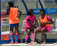 Bradenton, FL - Sunday, June 12, 2018: Madelina Fleuriot, Nahomie Ambroise prior to a U-17 Women's Championship 3rd place match between Canada and Haiti at IMG Academy. Canada defeated Haiti 2-1.