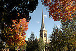 Trinity Episcopal Church and spire in autumn.