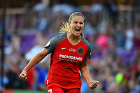 Orlando, FL - Saturday October 14, 2017: Lindsey Horan scores a goal and celebrates during the NWSL Championship match between the North Carolina Courage and the Portland Thorns FC at Orlando City Stadium.