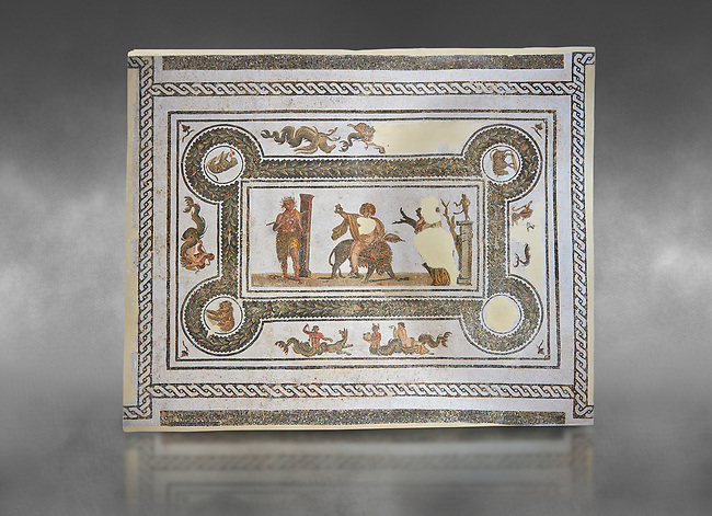 Pictures of a Roman mosaics design depicting Dionysus Riding a Panther, from Abdel Jelil. 2nd century AD. El Djem Archaeological Museum, El Djem, Tunisia. Against a grey background<br /> <br /> The Roman mosaic depicts Dionysus riding a Panther spilling a glass of wine he is holding. Behind him, a satyr wearing a panther skin plays a flute. In front of Dionysus a Bacchante is praying to Priapus,  a minor god of fertility. Surrounding the scene is a wreath designs with a medallion in each corner containing a wild boar, a panther, and lions.