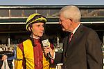 24 October 2009:  Mike Battaglia interviews Leandro Goncalves after his mount, Satans Quick Chick  wins the Grade 2 Lexus Raven Run Stakes at Keeneland Race Course Lexington, Kentucky.