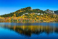 Autumn landscape at Echo Lake, Franconia Notch State Park, New Hampshire, USA.