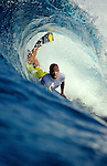 21 September 2004, Lombok, Indonesia --- A bodyboarder surfs a wave at reef break in Lombok, Indonesia.  Photo by Victor Fraile --- Image by © Victor Fraile