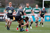 Shane O'Leary of Nottingham Rugby evades Harry Sloan of Ealing Trailfinders during the Championship Cup Quarter Final match between Ealing Trailfinders and Nottingham Rugby at Castle Bar , West Ealing , England  on 2 February 2019. Photo by Carlton Myrie / PRiME Media Images.