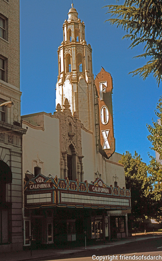 Movie Theatre: Stockton CA. Fox Theater, Downtown, Main St. Forlorn and magnificent on a Sunday Morning. Photo '82.