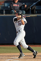 Matt Chapman #19 of the Cal State Fullerton Titans bats against the Loyola Marymount Lions at Goodwin Field on February 29, 2012 in Fullerton,California. Cal State Fullerton defeated LMU 6-2.(Larry Goren/Four Seam Images)