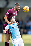 Forfar v St Johnstone…28.07.18…  Station Park    Betfred Cup<br />Liam Gordon gets above Dale Hilson<br />Picture by Graeme Hart. <br />Copyright Perthshire Picture Agency<br />Tel: 01738 623350  Mobile: 07990 594431