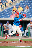 Philadelphia Phillies shortstop J.P. Crawford (43) at bat in the bottom of the first inning during a game against the Fort Myers Miracle while on rehab assignment with the Clearwater Threshers on May 31, 2018 at Spectrum Field in Clearwater, Florida.  Clearwater defeated Fort Myers 5-1.  (Mike Janes/Four Seam Images)