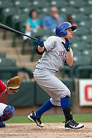 Iowa Cubs shortstop Matt Tolbert #9 at bat during the Pacific Coast League baseball game against the Round Rock Express on April 15, 2012 at the Dell Diamond in Round Rock, Texas. The Express beat the Cubs 11-10 in 13 innings. (Andrew Woolley / Four Seam Images).