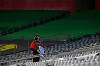20th November 2020, Nashville, TN, USA;  An usher holds a sign urging social distancing during the MLS Cup Playoffs Eastern Conference Play-In game between Nashville SC and Inter Miami, November 20, 2020 at Nissan Stadium