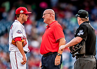 26 September 2018: Washington Nationals Director of Athletic Training Paul Lessard comes out to the mound to see pitcher Kyle McGowin, resulting in McGowin leaving the game in the 5th inning against the Miami Marlins at Nationals Park in Washington, DC. The Nationals defeated the visiting Marlins 9-3, closing out Washington's 2018 home season. Mandatory Credit: Ed Wolfstein Photo *** RAW (NEF) Image File Available ***