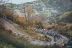 The peloton led by Team Jumbo-Visma climb during Stage 12 of the Vuelta Espana 2020 running 109.4km from Pola de Laviana to Alto de l'Angliru, Spain. 1st November 2020. <br /> Picture: Unipublic/BaixauliStudio | Cyclefile<br /> <br /> All photos usage must carry mandatory copyright credit (© Cyclefile | Unipublic/BaixauliStudio)