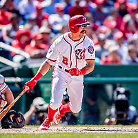23 August 2018: Washington Nationals outfielder Adam Eaton hits a double in the 8th inning against the Philadelphia Phillies at Nationals Park in Washington, DC. The Phillies shut out the Nationals 2-0 to take the 3rd game of their 3-game mid-week divisional series. Mandatory Credit: Ed Wolfstein Photo *** RAW (NEF) Image File Available ***