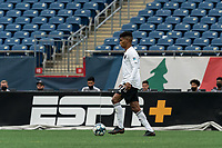 FOXBOROUGH, UNITED STATES - MAY 28: Modesto Mendez #17 of Fort Lauderdale CF looks to pass during a game between Fort Lauderdale CF and New England Revolution II at Gillette Stadium on May 28, 2021 in Foxborough, Massachusetts.