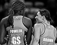 Steel's Jhaniele Fowler and Jodi Brown in the ANZ netball championship match against the Swifts, Stadium Southland Velodrome, Invercargill, New Zealand, Monday, May 06, 2013. Credit:NINZ/Dianne Manson