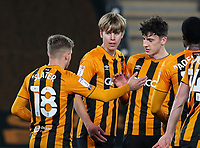Hull City's Martin Samuelsen (centre) celebrates scoring the opening goal with teammates<br /> <br /> Photographer Alex Dodd/CameraSport<br /> <br /> EFL Papa John's Trophy - Northern Section - Group H - Hull City v Grimsby Town - Tuesday 17th November 2020 - KCOM Stadium - Kingston upon Hull<br />  <br /> World Copyright © 2020 CameraSport. All rights reserved. 43 Linden Ave. Countesthorpe. Leicester. England. LE8 5PG - Tel: +44 (0) 116 277 4147 - admin@camerasport.com - www.camerasport.com