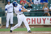Round Rock Express shortstop Nick Green #9 singles in his first AAA at bat during a game against the New Orleans Zephyrs at the Dell Diamond on July 21, 2011 in Round Rock, Texas.  New Orleans defeated Round Rock 7-4.  (Andrew Woolley/Four Seam Images)