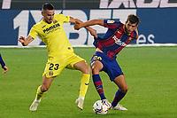 27th September 2020; Camp Nou, Barcelona, Catalonia, Spain; La Liga Football, Barcelona versus Villareal;  Sergi Roberto and Moi Gomez tussle for the ball