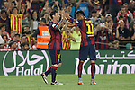 Barcelona´s Leo Messi celebrates a goal (3-0) with Neymar Jr during 2014-15 Copa del Rey final match between Barcelona and Athletic de Bilbao at Camp Nou stadium in Barcelona, Spain. May 30, 2015. (ALTERPHOTOS/Victor Blanco)