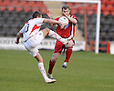 07/05/2008   Copyright Pic: James Stewart.File Name : sct_jspa02_airdrie_v_clyde.GRAEME HOLMES CLEARS FROM MARVYN WILSON.James Stewart Photo Agency 19 Carronlea Drive, Falkirk. FK2 8DN      Vat Reg No. 607 6932 25.Studio      : +44 (0)1324 611191 .Mobile      : +44 (0)7721 416997.E-mail  :  jim@jspa.co.uk.If you require further information then contact Jim Stewart on any of the numbers above........