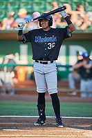 Luis Cossio (30) of the Missoula Osprey bats against the Ogden Raptors at Lindquist Field on July 12, 2018 in Ogden, Utah. Missoula defeated Ogden 11-4. (Stephen Smith/Four Seam Images)