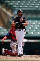 GCL Orioles Josue Herrera (24) bats during a Gulf Coast League game against the GCL Red Sox on July 29, 2019 at Ed Smith Stadium in Sarasota, Florida.  GCL Red Sox defeated the GCL Pirates 9-1.  (Mike Janes/Four Seam Images)