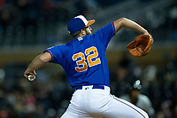 Durham Bulls pitcher Colin Poche (32) in action against the Gwinnett Braves at Durham Bulls Athletic Park on April 20, 2019 in Durham, North Carolina. The Bulls defeated the Braves 3-2 in game two of a double-header. (Brian Westerholt/Four Seam Images)