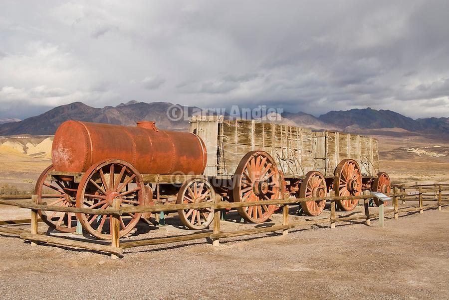 Historic weathered wenty Mule Team borax wagon on display, Harmony Borax mill, Death Valley National Park, Calif.