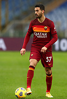 Football, Serie A: AS Roma -  FC Internazionale Milano, Olympic stadium, Rome, January 10, 2021. <br /> Roma's Leonardo Spinazzola in action during the Italian Serie A football match between Roma and Inter at Rome's Olympic stadium, on January 10, 2021.  <br /> UPDATE IMAGES PRESS/Isabella Bonotto