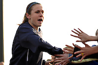 Heather O'Reilly (9) of Sky Blue FC greets fans. The Philadelphia Independence and Sky Blue FC played to a 2-2 tie during a Women's Professional Soccer (WPS) match at Yurcak Field in Piscataway, NJ, on April 10, 2011.