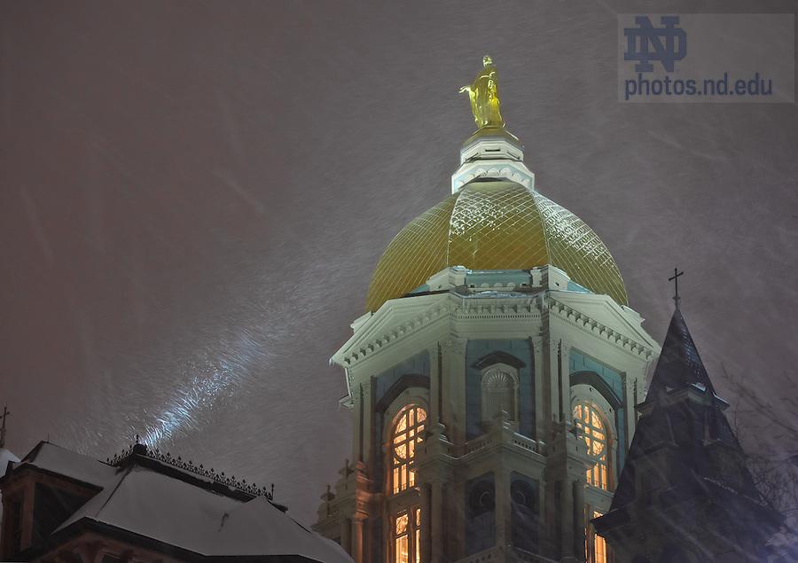 Jan. 23, 2013; Main Building in a night snowstorm..Photo by Matt Cashore/University of Notre Dame